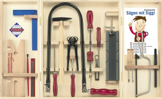 Fretwork kit with steel tools in wooden cabinet: The classic