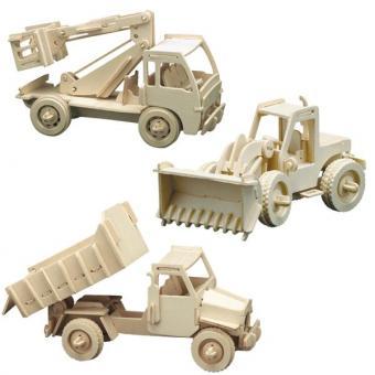 Holzbausatz Baufahrzeug-Set