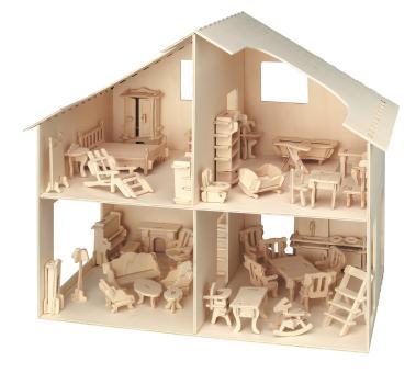 Holzbausatz Puppenhaus mit Möbeln